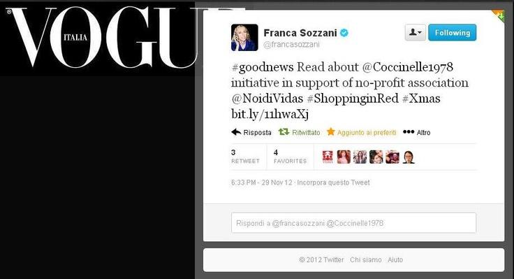 Franca Sozzani - direttrice di @Vogue Italia si è fatta portavoce dell'iniziativa di @Coccinelle 1978 per Vidas, grazie di cuore!