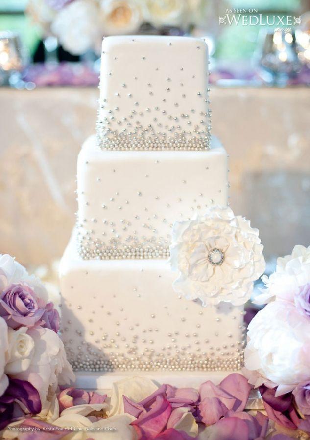 Elegant Stardust White and Silver Wedding Cake