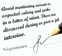 Tip for writing a Letter of Intent for a job