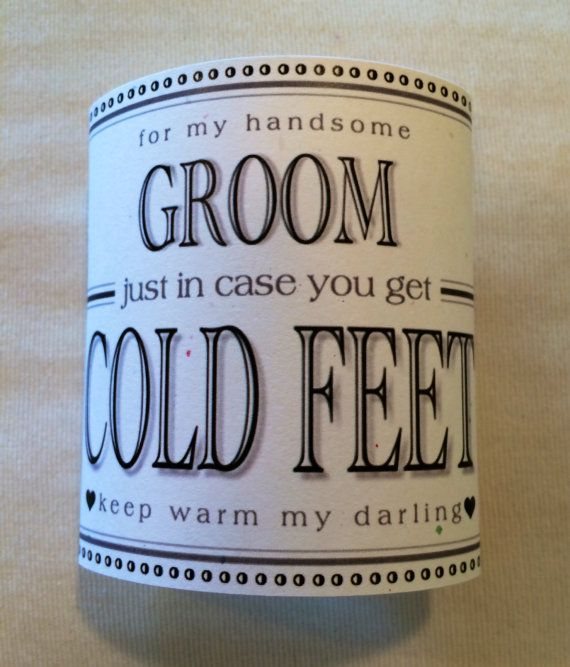 """Fabulous Groom's Wedding Gift from Bride """"Just In Case You Get Cold Feet"""" Label (Add Your Own Favorite Socks to Complete!!)"""""""