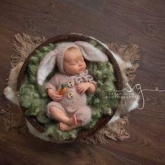 Neugeborene Häschen Beige Foto Prop hand gestrickte Foto