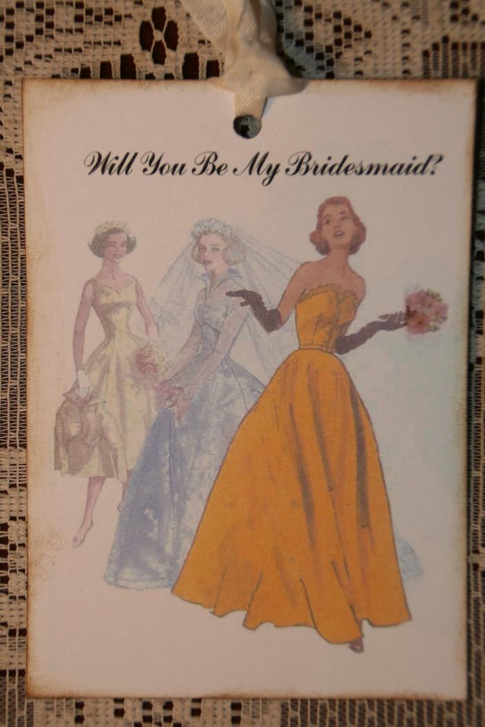 Will You Be My Bridesmaid Tags. $3.75, via Etsy.