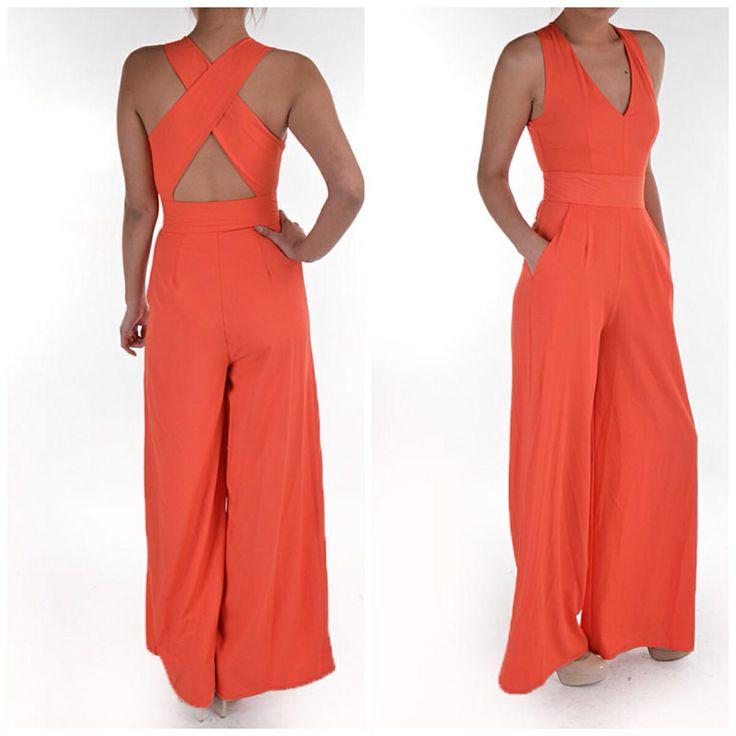 Love Spring Colors!!!!! Jasmine Tangerine Wide Leg Jumpsuit