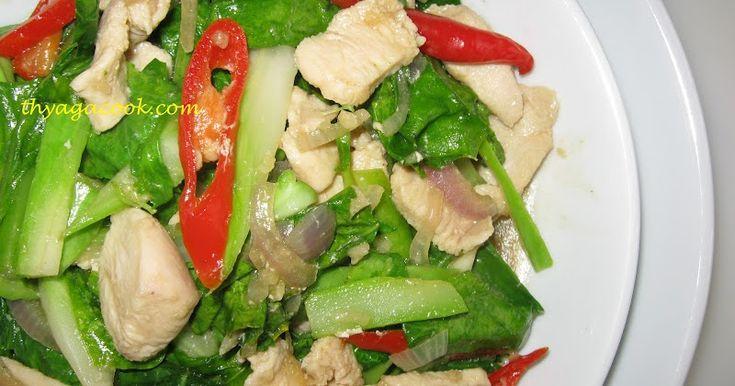 FRIED KAI LAN WITH CHICKEN 200gm kai lan,sliced 100gm chicken,sliced 1 big onion,sliced 2 garlic,chopped 2cm ginger,chopped 1 re...