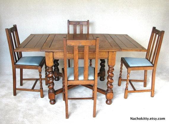 Old English Barley Twist Draw Leaf Pub Table Chairs