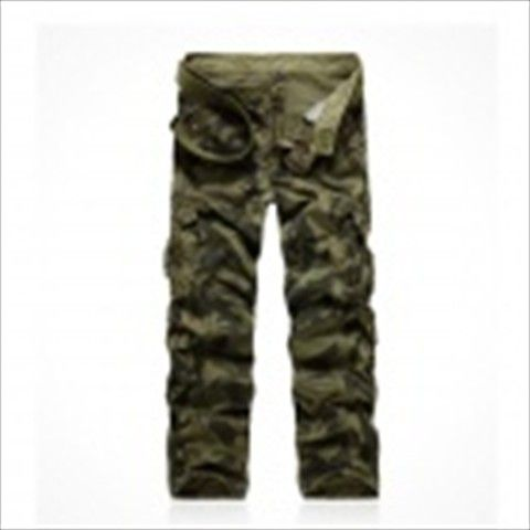 1309B022 Water Waves Washed Camouflage Pants - Army Green (Size 34) $38.03