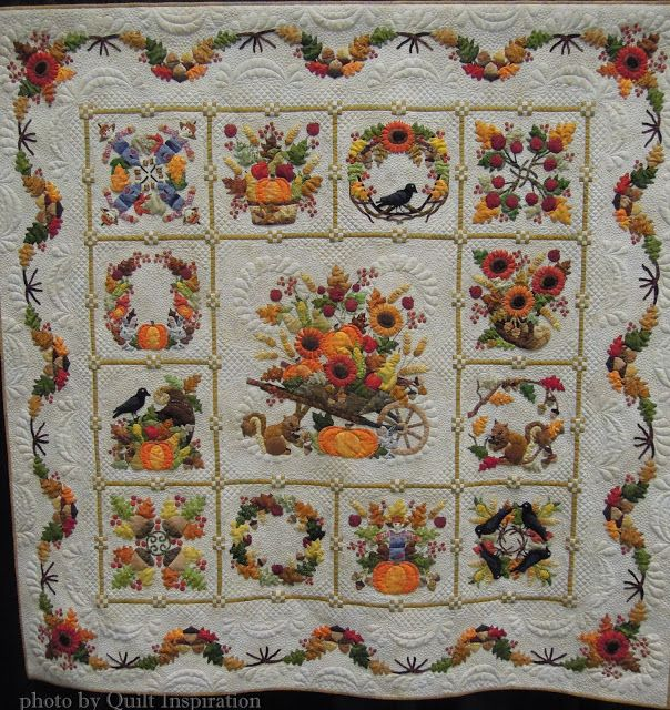 "Autumn Baltimore, 71 x 71"", by Sue Green, California.  Design by Pearl Pereira. 2015 PIQF.  Photo by Quilt Inspiration."