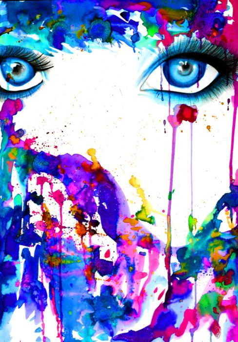 Watercolor art face - This is so sick, I want it in my daughters room!