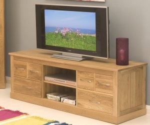 Solid oak TV unit.
