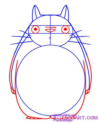Step 3. How to Draw Totoro from My Neighbor Totoro
