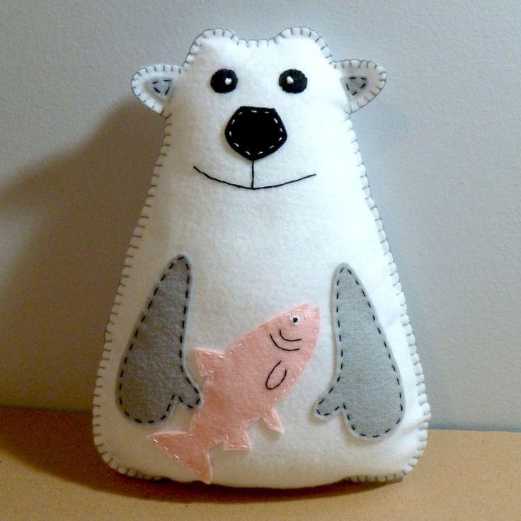 Stuffed Polar Bear PATTERN - Sew by Hand Plush Felt Stuffed Animal PDF - Easy to Make. $4,00, via Etsy.