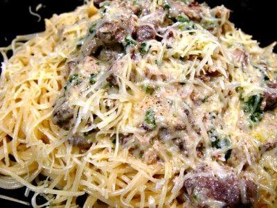 Капеллини с печёночно-сливочным соусом