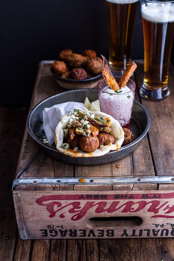 Buffalo Falafel Pitas with Garlic Blue Cheese Fries + Ranch Style Tzatziki | halfbakedharvest.com
