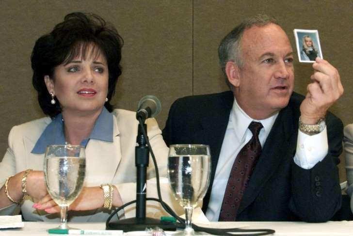 File photo of Patsy Ramsey and her husband, John Ramsey producing a picture of Jon-Benet Ramsey during a press conference in Atlanta