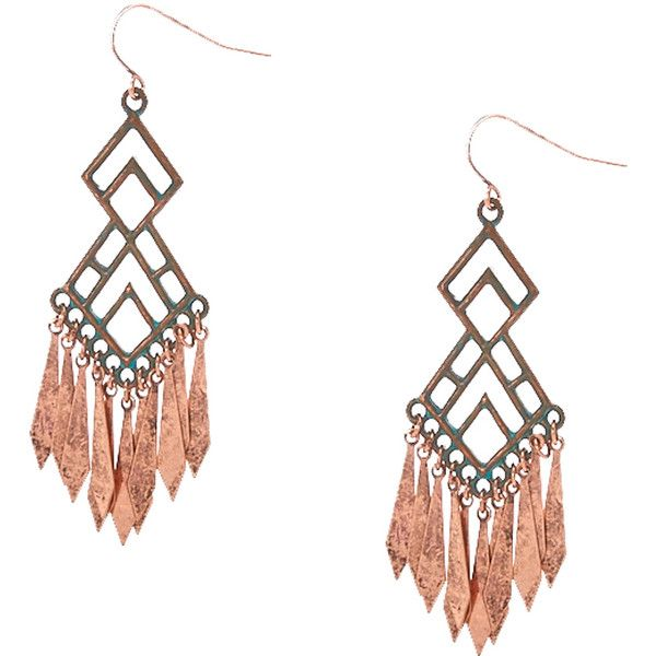 Antiquated Copper Geometric Drop Earrings (125 ILS) ❤ liked on Polyvore featuring jewelry, earrings, antique copper jewelry, antique jewelry, fish hook jewelry, geometric jewelry and antique jewellery
