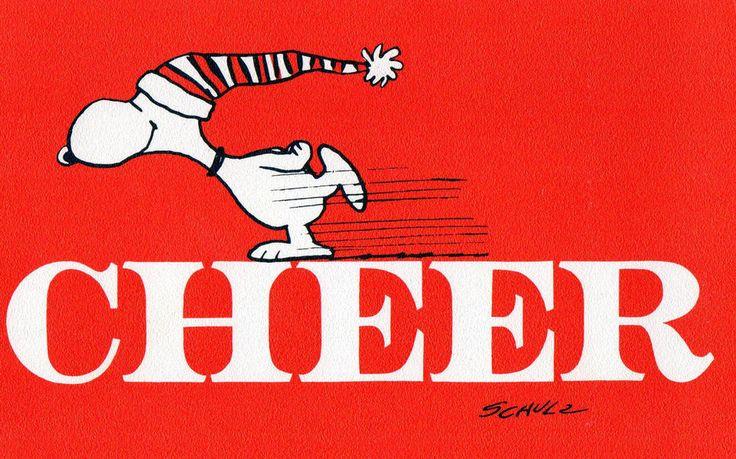 Vintge Hallmark Christmas Card SNOOPY SKATING ACROSS The Word CHEER Peanuts Gang