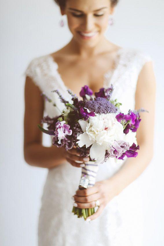 purple bouquet  Read More: http://www.stylemepretty.com/canada-weddings/ontario/toronto/2014/01/24/lavender-wedding-inspiration-at-weirs-lane-lavender-farm/