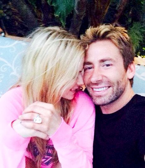 "Avril Lavigne and Chad Kroeger---""17 carat emerald cut. Wow. I love my hubby,"" she added, along with a snap of herself, her new giant bling, and the generous Nickelback singer. #bigdiamondrings #diamondring #wow"
