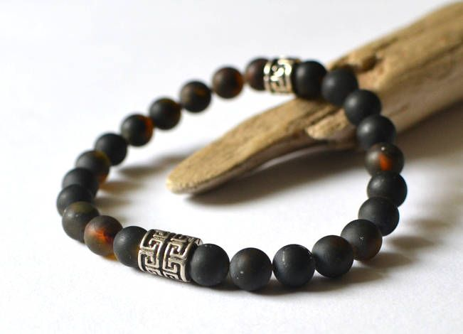 Mens Bracelet, Amber Bracelet for Him, Black Mens Bracelet, Gemstone Bracelet, Amber Jewelry, Gift for him by KARUBA on Etsy