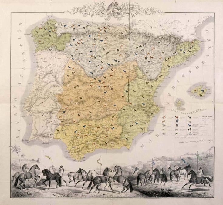 La Cria Caballar en España, ca. 1861. Bajo la dirección del Coronel de Caballería Juan Cotarelo y Garastazu; grabó P. Mascaró.