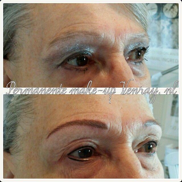Wenkbrauwen hairstroke en eyeliners door Nathalie Salarbux-Rozema, Permanente make-up Venray.nl