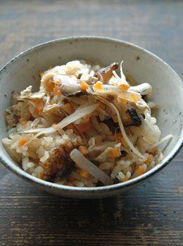 Gomoku Rice (Rice mixed with various veggies). I usually use Shiitake, Carrots and konnyaku for veggies.