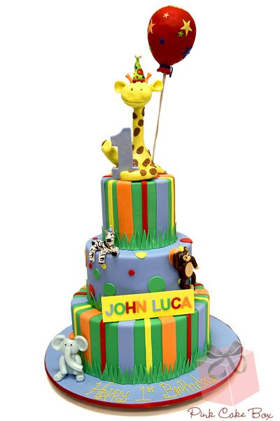 John's First Birthday Giraffe Cake by Pink Cake Box in Denville, NJ.  More photos at http://blog.pinkcakebox.com/johns-first-birthday-giraffe-cake-2012-11-20.htm  #cakes