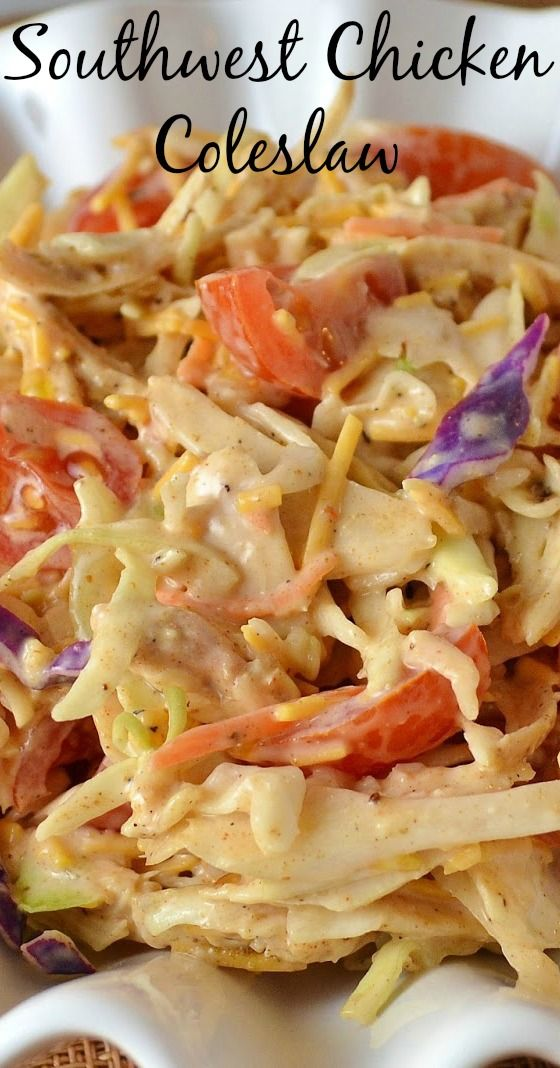 A delicious Southwest Mexican side dish! Serve at a BBQ or picnic and also great served in wraps for lunch! Southwest Chicken Coleslaw Recipe from Hot Eats and Cool Reads