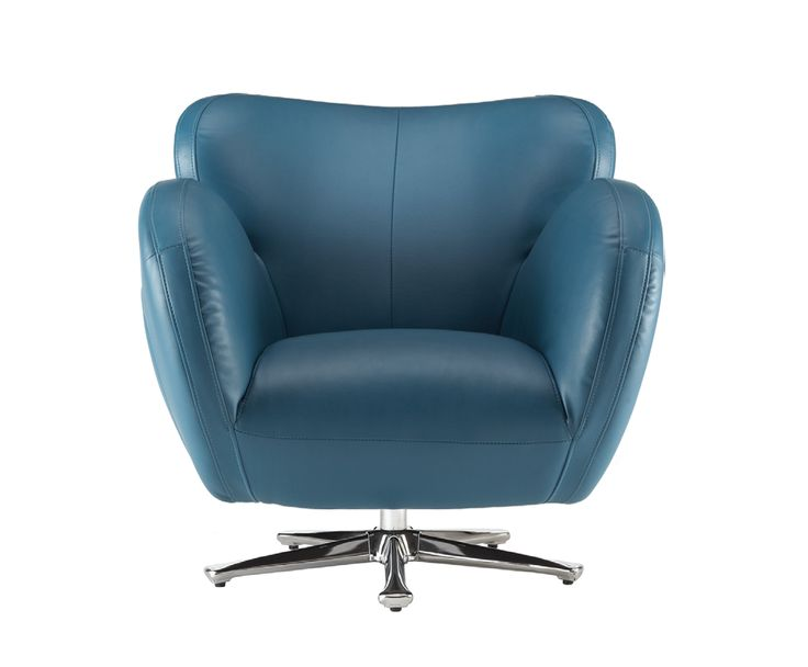 Bomba Swivel Chair In Turquoise Bonded Leather Kasala