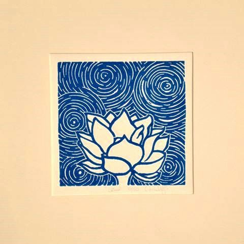 Lotus -- hand pulled linocut relief print on Etsy, $15.00