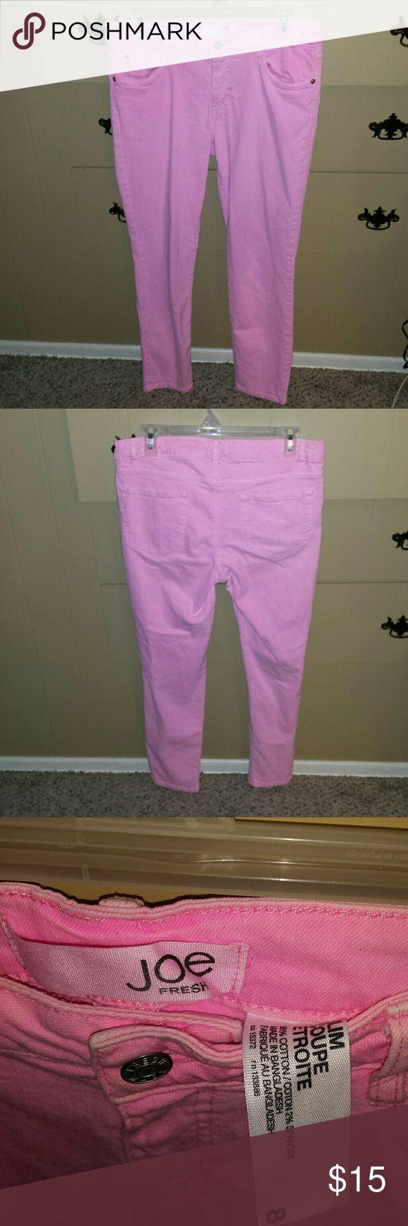 Pink Joe slim jeans Pink Joe slim jeans. They are in very good condition. Size 8 Joe Fresh Jeans Skinny