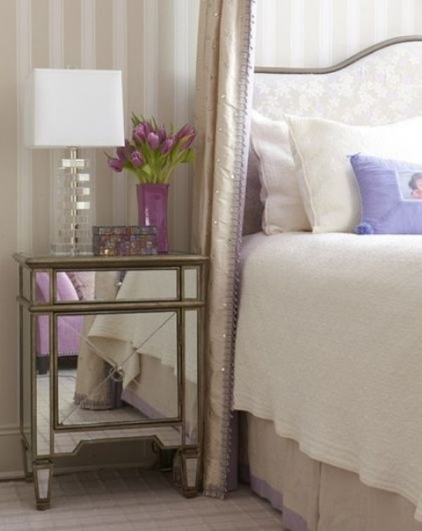 Mirrored Bedside Table Design Ideas, Pictures, Remodel, And Decor