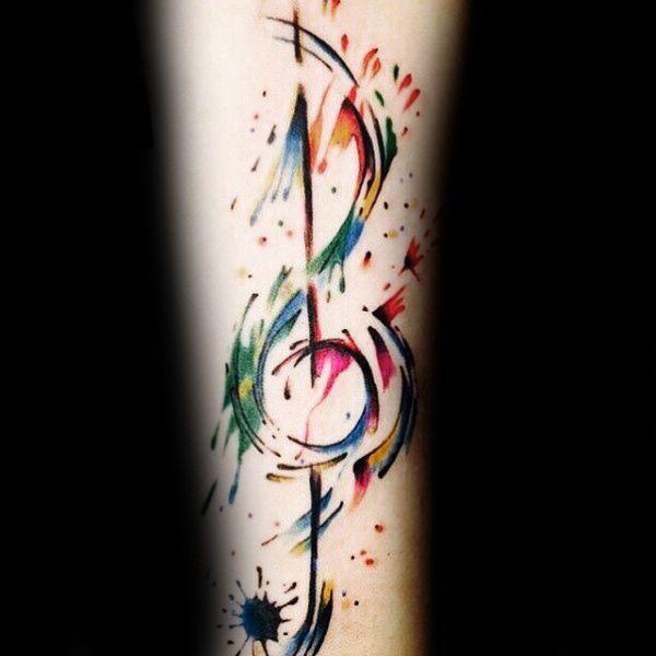 Bunte Typen Music Note Unterarm- Tattoos mit Aquarell-Entwurf