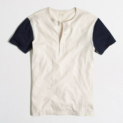 short-sleeve cotton baseball henley