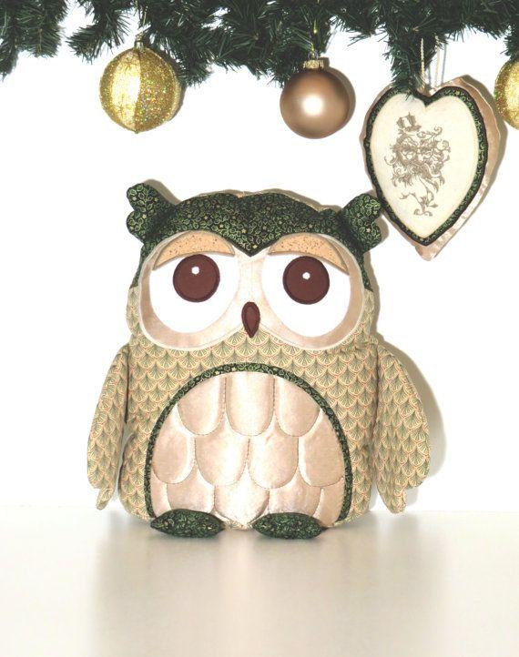 Xmas Decoration Owl Pillow Decorative Throw by Customquiltsbyeva