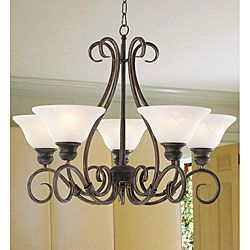 @Overstock - Bring elegance and a slight formality into your dining room with this contemporary twist to a traditional hanging chandelier. This chandelier has five lights, each of which has an opaque white shade and requires a 60-watt light bulb. http://www.overstock.com/Home-Garden/Iron-5-light-Hanging-Chandelier/3001659/product.html?CID=214117 $129.99