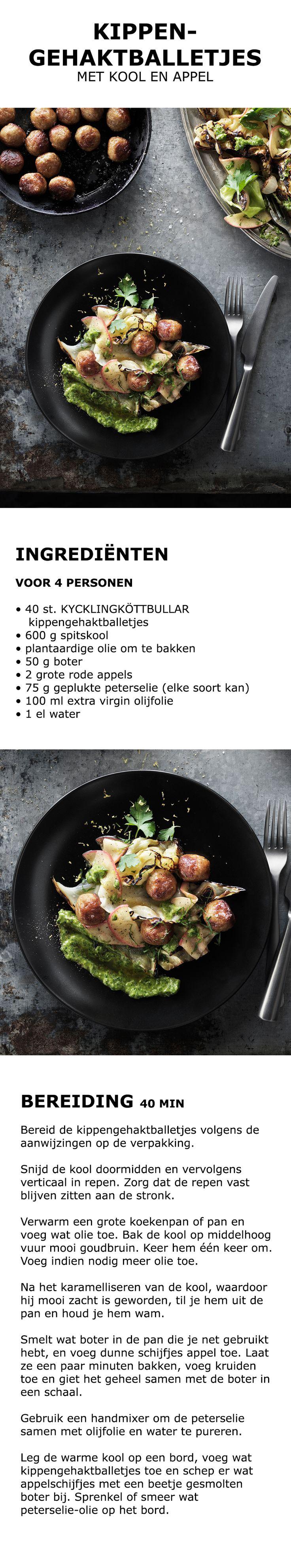 Inspiratie voor de feestdagen - Kippengehaktballetjes met kool en appel | IKEA IKEAnederland koken keuken recept herfst winter kerst diner lunch zweeds gerecht menu