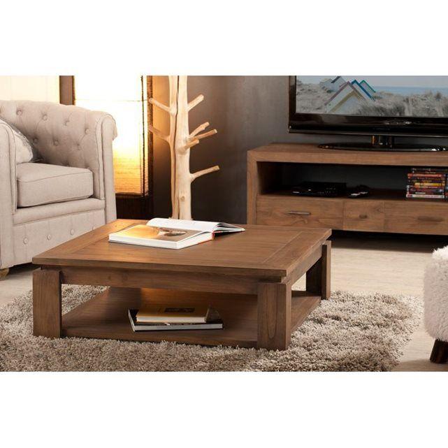 PIER IMPORT - Table basse carrée bois acajou cannelle 90cm LOUNA   La Redoute