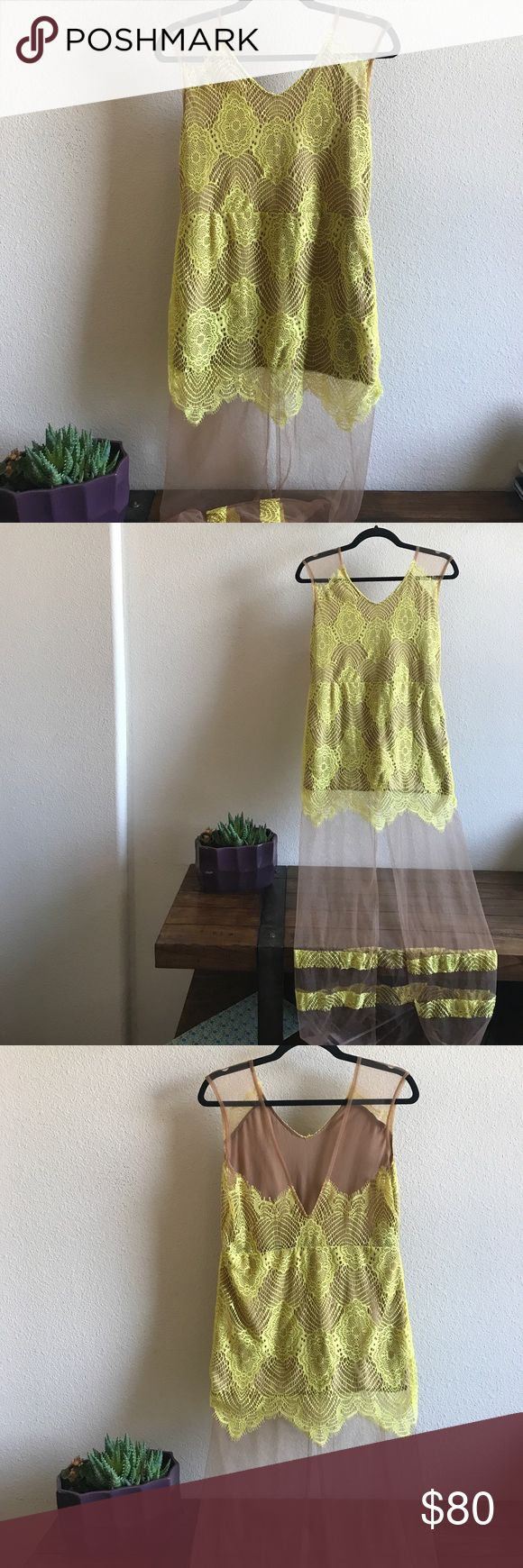 "Free People Nude & Neon Maxi Dress This is very stretchy and light and airy. Excellent condition with no holes, snags or stains. 18"" armpit to armpit and the non-nude portion is 32"" long. Free People Dresses Maxi"