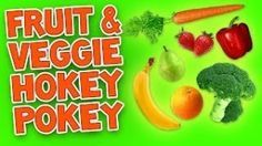 """Hokey Pokey (Fruit & Veggie) with easy printable lyrics. Children will learn the moves to the """"Fruit & Veggie Hokey Pokey"""".  A healthy twist to an all-time favorite dance song for kids!  It promotes healthy food choices through music and movement. This is a great video to include in your theme on health, fitness and nutrition."""