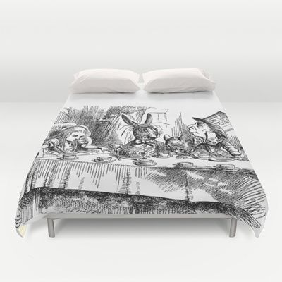 Vintage Alice in Wonderland Mad Hatter & rabbit tea party antique goth emo book gothic drawing print Duvet Cover - $99.00