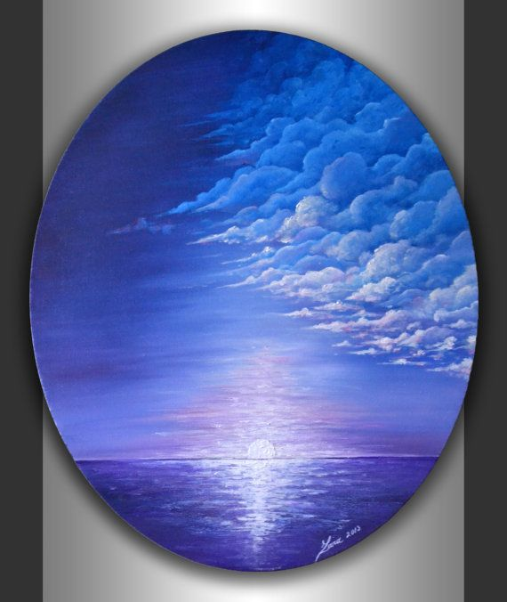 Original Abstract Seascape Painting Modern Acrylic Blue Lavender Landscape Artwork on 24x20 Ready to hang Oval Canvas Home Office Wall Art by ZarasShop