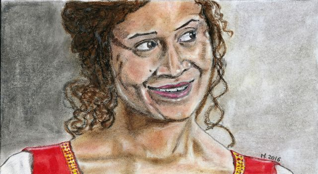 Angel Coulby as Guinevere by Vanessafari - #AngelCoulby in the #BBCMerlin series, by #Vanessafari. This portrait and more at vanessafari.com