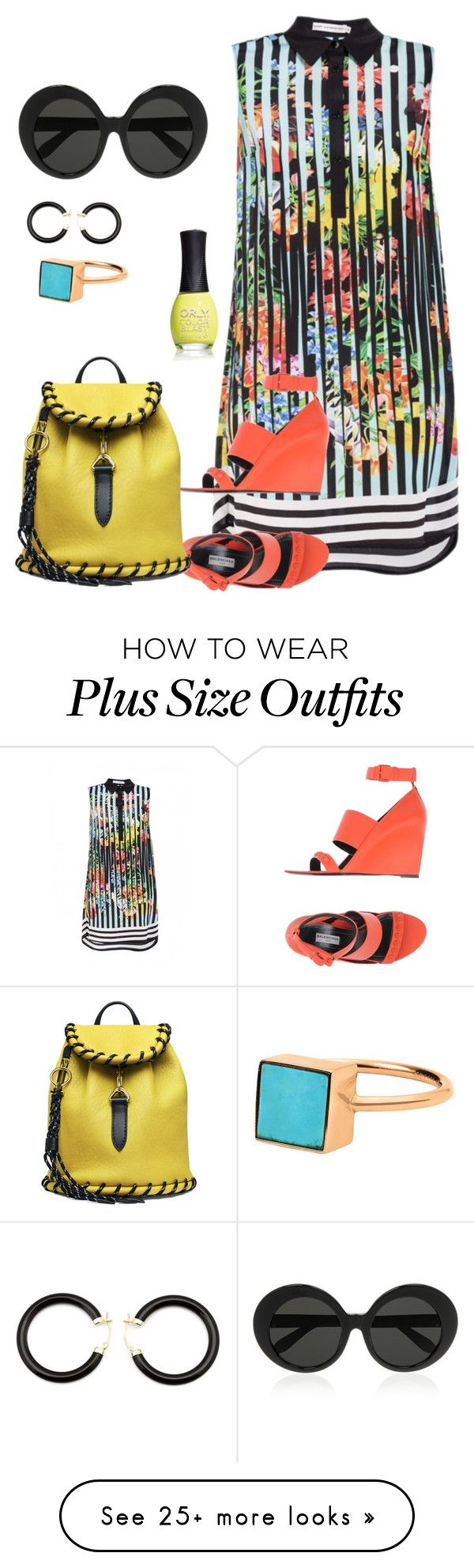 """plus size summer of color"" by kristie-payne on Polyvore featuring Mary Katrantzou, Balenciaga, Linda Farrow, ORLY and Kristin Hanson"