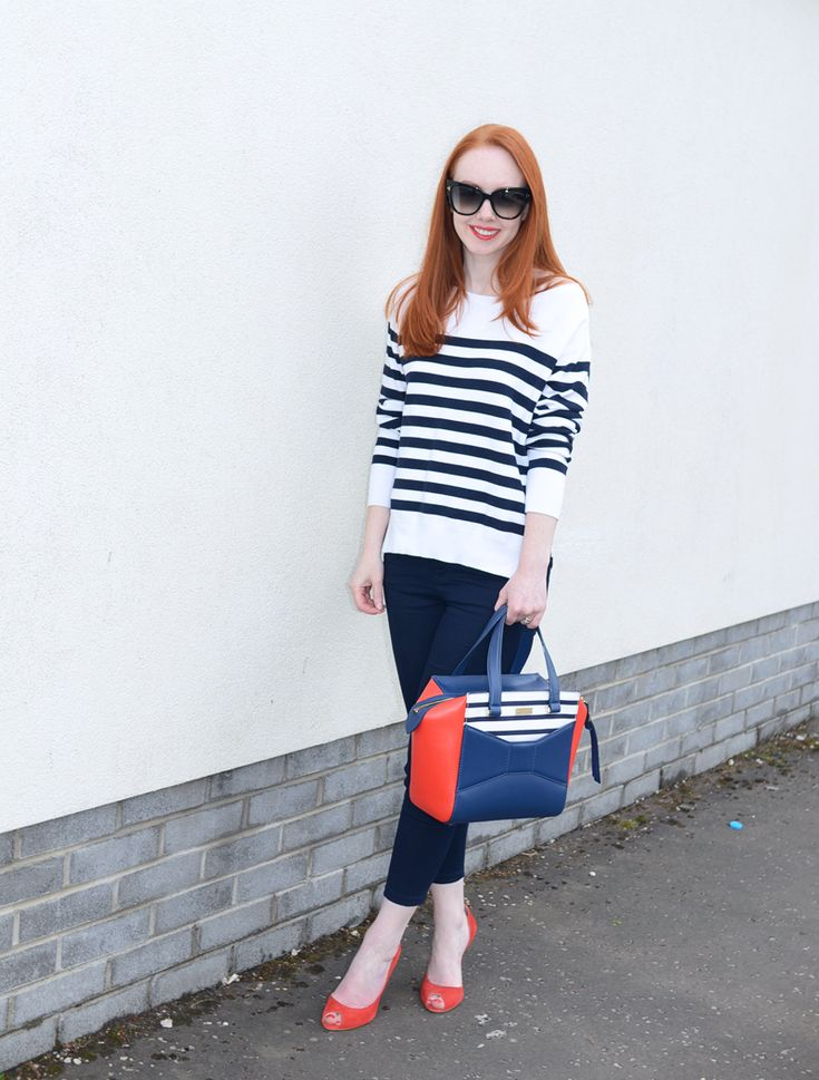 nautical spring outfit: navy capri pants with Breton stripe sweater and red high heels