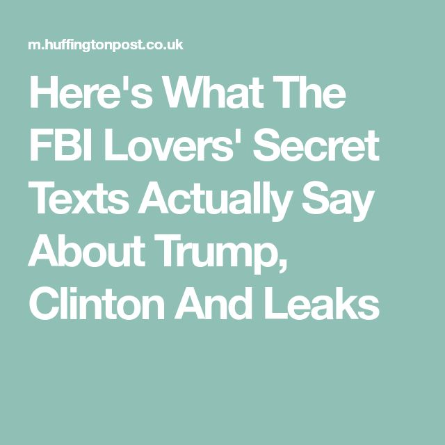 Here's What The FBI Lovers' Secret Texts Actually Say About Trump, Clinton And Leaks