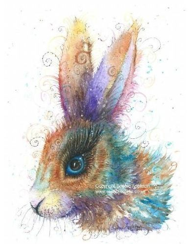 Rabbit painting by Sophie Appleton £13.95 on the 'Art 4 SALE' page of www.sixfootsophie.co.uk