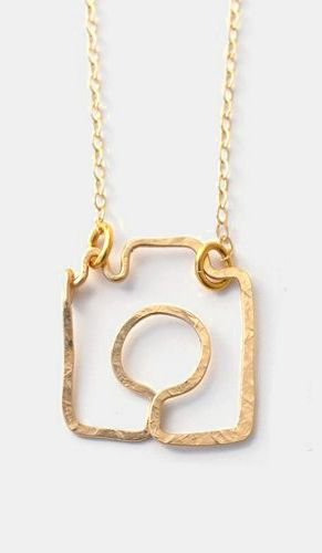 Gold Shoot Me Camera Necklace