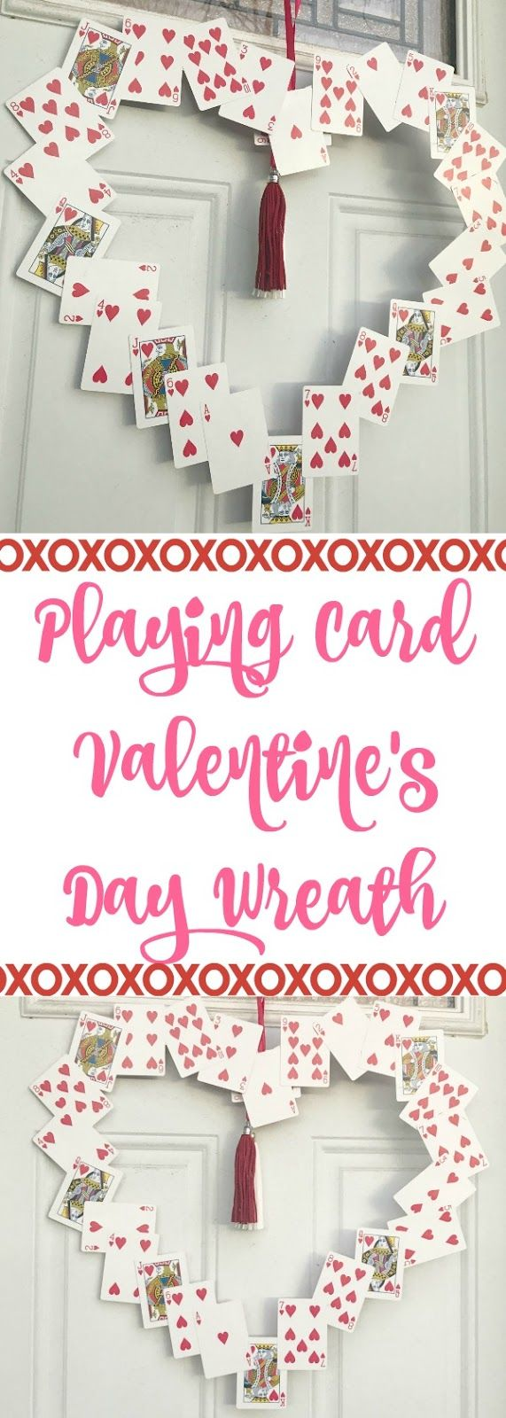 playing card valentines day wreath