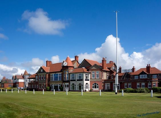 Historic golf course and clubhouse at historic Royal Liverpool England.